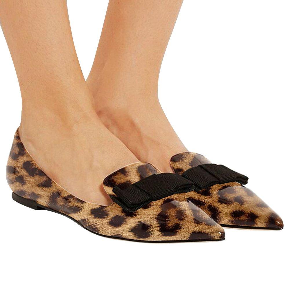 Eldof Women's Flats, Pointed Toe Flats Pumps, Patent Leather Flats Pumps, Walking Dress Office Classic Comfortable Flats B07DL25GD8 9.5 B(M) US|Leopard