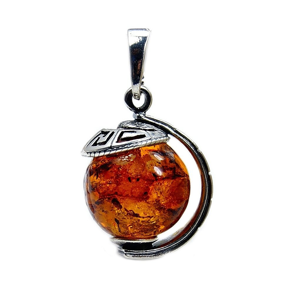 Incredible Sterling Silver Natural Baltic Amber Globe Pendant