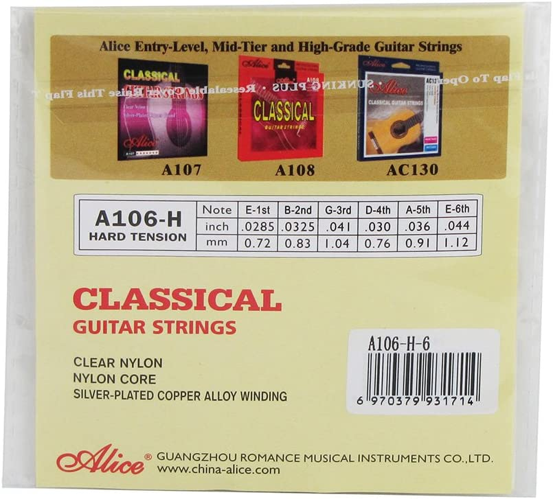 3pcs//Set Alice Classical Guitar String 1st//2nd//3rd Clear Nylon String Hard Tension