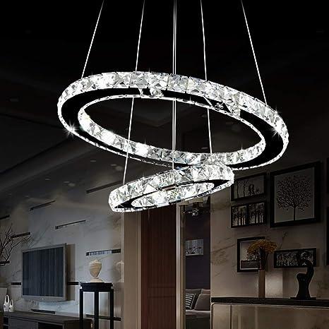Amazon Com Antilisha Led Chandelier Lighting Crystal Modern Led 2 Rings Pendant Lights For Bath Room Closet Dressing Room Powder Room 20 12 Home Improvement