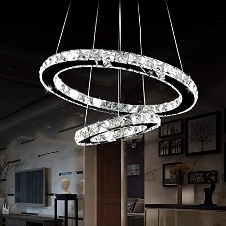 Antilisha Led Chandelier Lighting Crystal Modern Led 2 Rings Pendant Lights For Bath Room Closet Dressing Room Powder Room 20 12