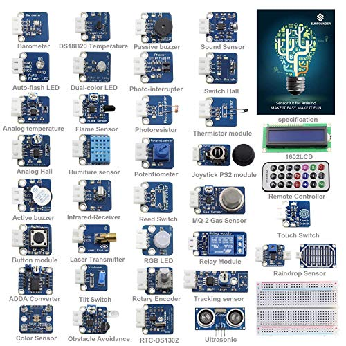 (SunFounder Ultimate Sensor Kit for Arduino UNO R3 Mega2560 Mega328 Nano - Including 98 Page Instructions Book)