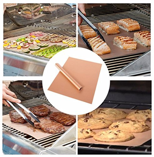 XCOOK Copper BBQ Grill Mat 5 Pack Non-stick Reusable Heat Resistant Easy to Clean Barbecue Cooking Baking Mats