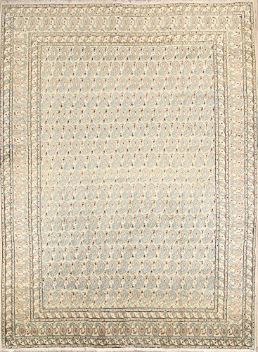 (Persian All Over Floral Old Semi Antique Wool Oriental Keshan Area Rug 9X12)