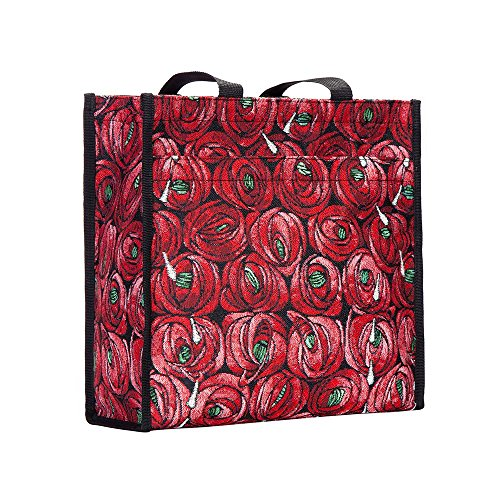 - Red Charles Rennie Mackintosh Rose and Teardrop Art Shopping Bags for Groceries by Signare (SHOP-RMTD)
