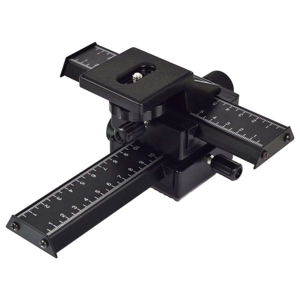 Canon 4 fa/çons mise au point macro curseur de rail // Close-up de tir pour Nikon MENGS/® Plateau panoramique 3D Pentax et dautres appareil photo reflex num/érique et DC avec la norme 1//4 Sony Olympus