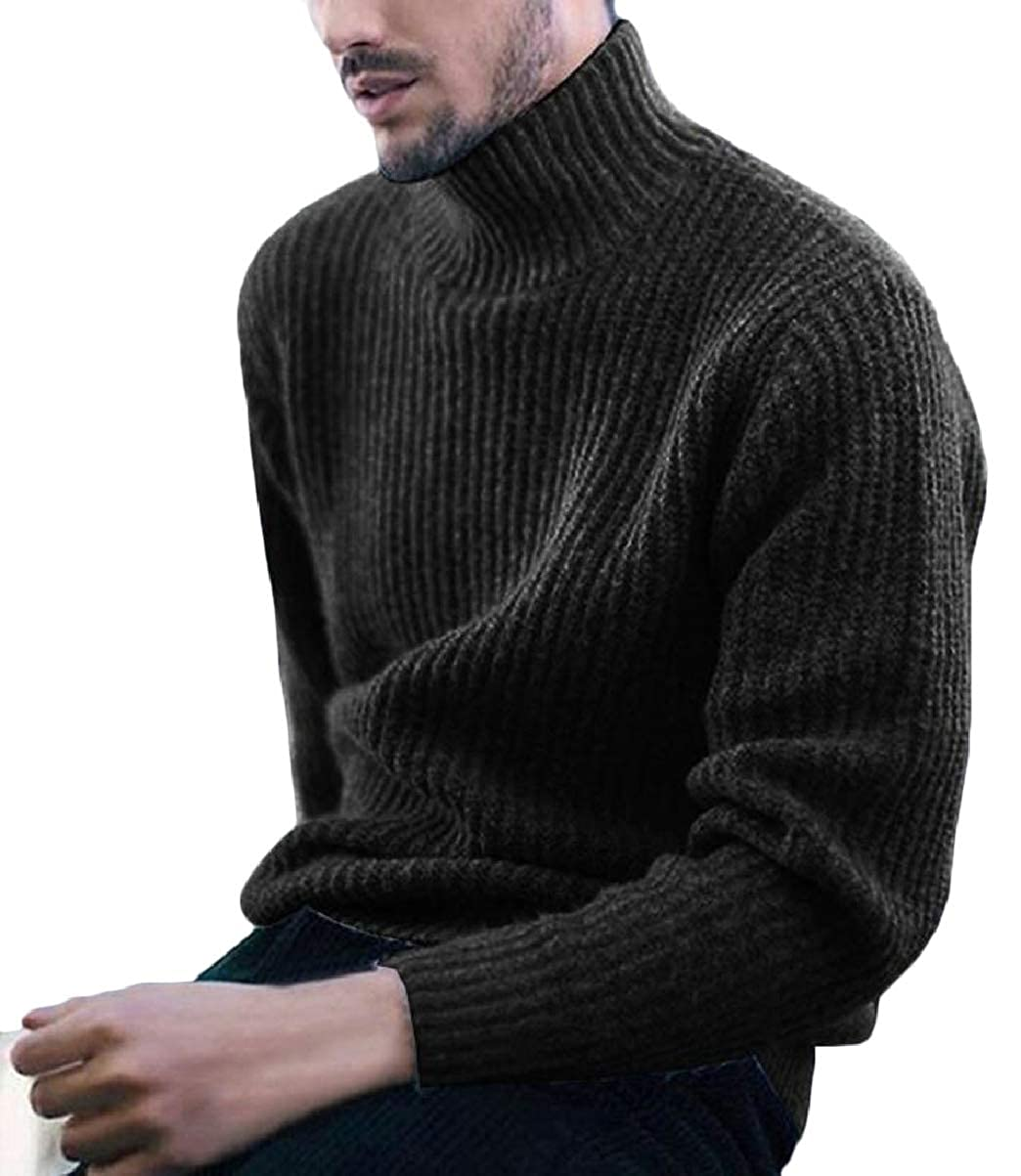 CBTLVSN Mens Autumn Long Sleeve Solid High Neck Thermal Knitted Sweaters