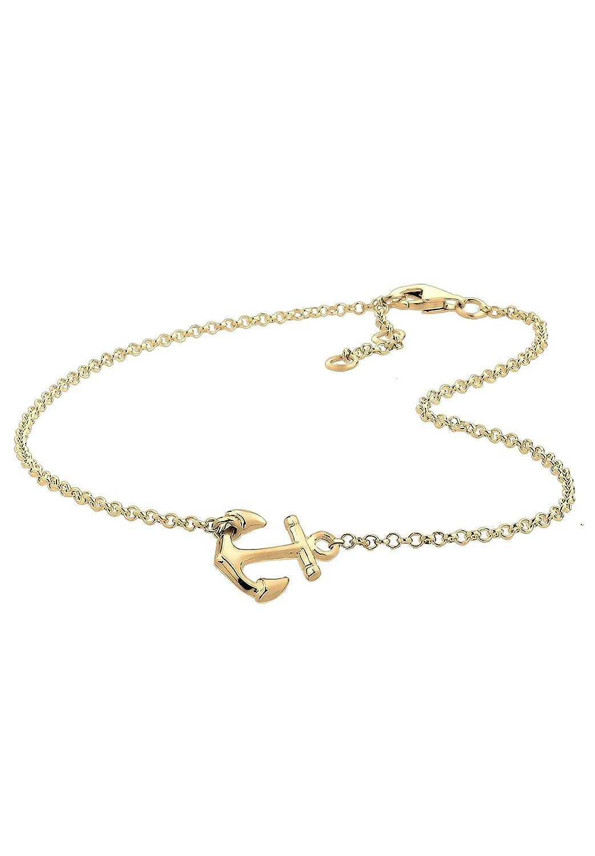 Elli Women's 925 Sterling Silver Anchor Anklet Gold Plated Anchor Anklet