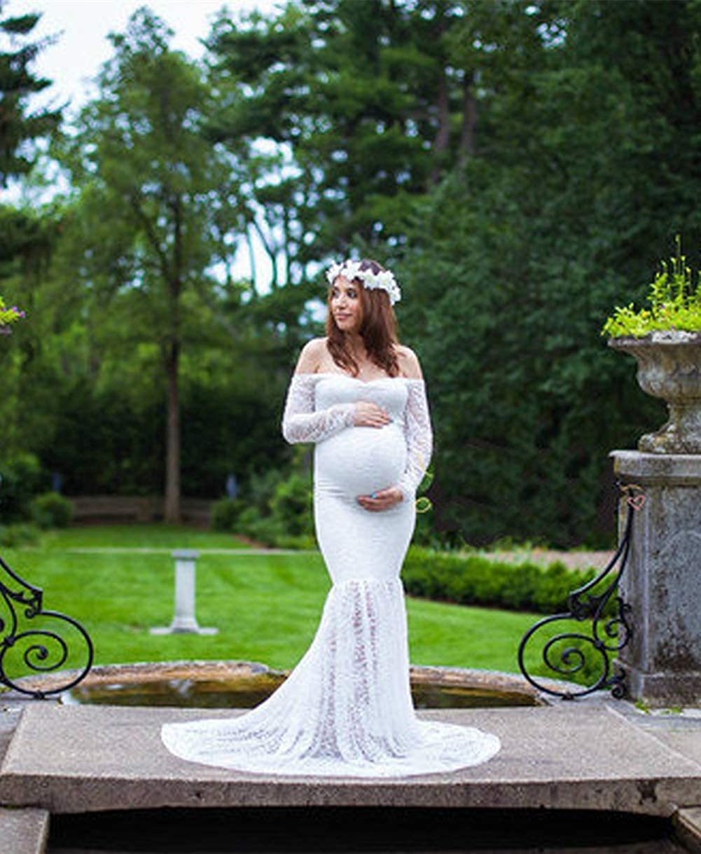 ZIUMUDY Maternity Lace Fitted Gown Long Sleeve Maxi Mermaid Photography Dress Baby Shower Photo Shoot