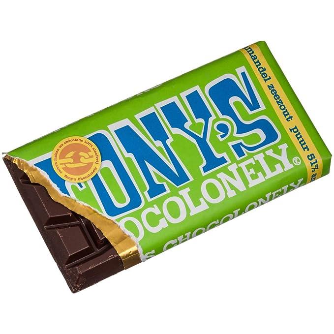 Tonys Chocolonely Chocolate negro al 51% con almendras y sal marina 180 g