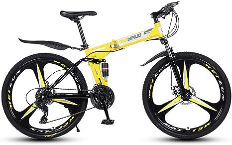 Liu Yu·casa creativa Bicicleta de montaña 21/24/27 Velocidad 26 Pulgadas Rueda Bicicleta Plegable de Doble suspensión Freno de Disco Doble Bicicleta Plegable MTB,24speed: Amazon.es: Deportes y aire libre