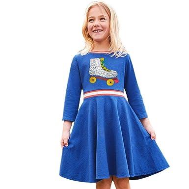 53ef65c9cd379 Internet Bébé Filles Enfants Robe à Manches Longues Impression Chat de  Dessin animé Automne-Hiver