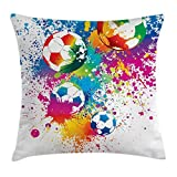 TINA-R Sports Decor Throw Pillow Cushion Cover, Colored Splashes All over the Soccer Balls Score World Cup Championship Art Print, Decorative Square Pillow Case, 18 X 18 Inches, Multi