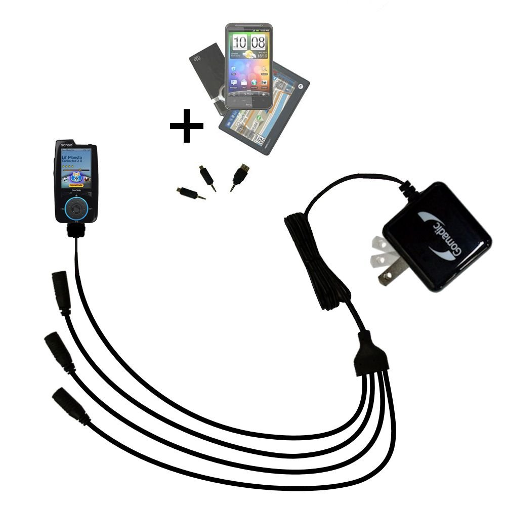 Quad 4-port wall charger with included tip for the Sandisk Sansa Connect a compact design with flip out prongs - Uses TipExchange Technology to charge up to four devices simultaneously
