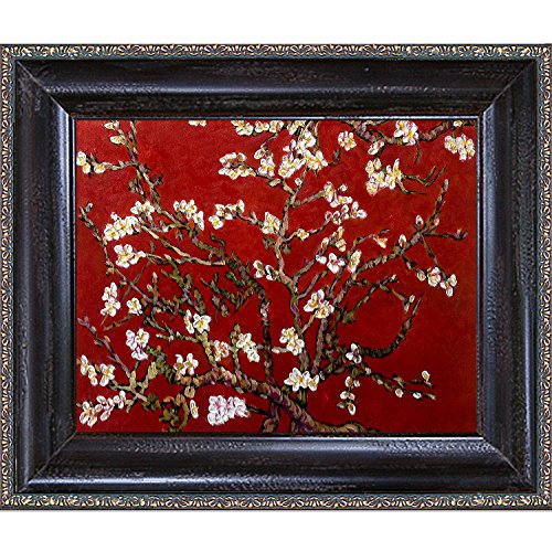 Painted Original Artwork - La Pastiche VG2587-FR-98238X10 Branches Of An Almond Tree In Blossom, Ruby Red Framed Hand Painted Original Artwork with La Scala Frame