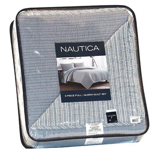 Nautica 3 Pc Quilt Set, Full/ Queen in Grey - Nautica Queen Comforter