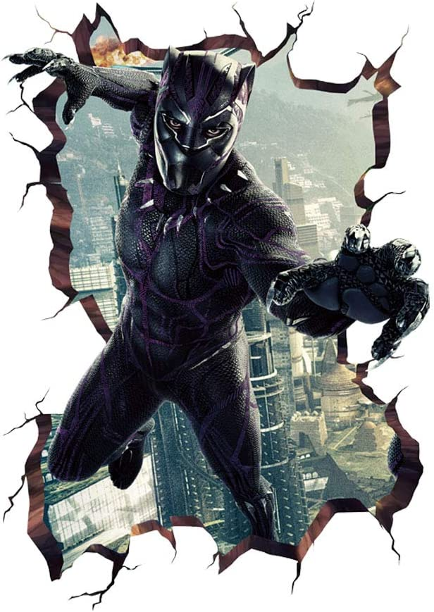 "MOE MOE Black Panther Wall Stickers Marvel Wall Decal 3D Wall Decals for Teen Boys Bedroom PVC, Through Wall Removable (19.7"" x 27.6""inches)"