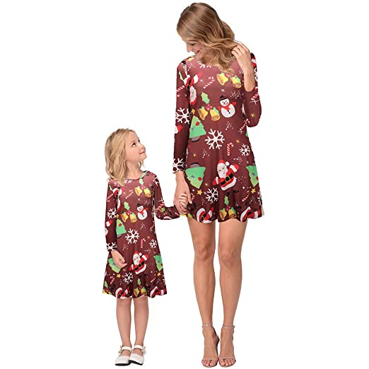3e91f498ecbd0 Amazon.com: Christmas Dress Family Matching Clothes Mom Daughter Matching  Shirts Snowflake Long Sleeve Christmas Mother Daughter Outfit: Clothing