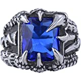 Jajafook Sterling Men's Stainless Steel Titanium Dragon Claw Opal Blue Diamond Retro Fashion Vintage Ring 7-13
