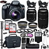 Canon EOS Rebel T6 DSLR Camera with Canon 18-55mm IS II Lens & 75-300mm III Lens Kit + Battery Grip + Canon Case + 64GB Memory + Filters + Macros + Monopod + 50 Tripod + Professional DSLR Bundle