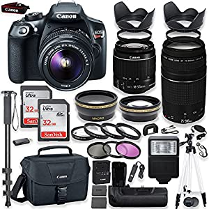 Canon EOS Rebel T6 DSLR Camera with Canon 18-55mm IS II Lens & 75-300mm III Lens Kit + Battery Grip + Canon Case + 64GB Memory + Filters + Macros + Monopod + 50