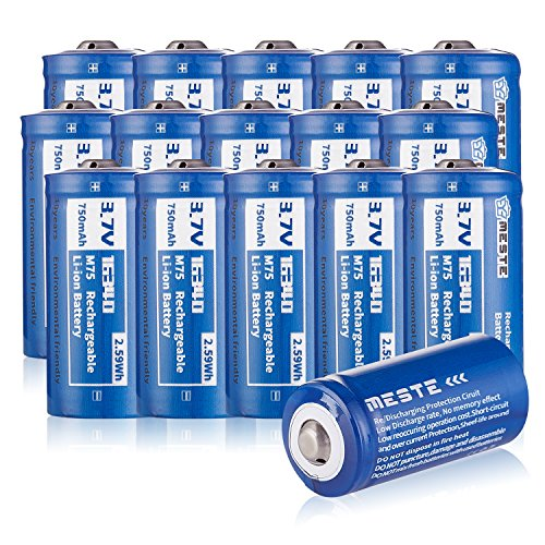 15 Pack MESTE CR123a Rechargeable 16340 Battery,3.7v Lithium 700mAh RCR123A Batteries Arlo Cameras, Flashlight, (M70)