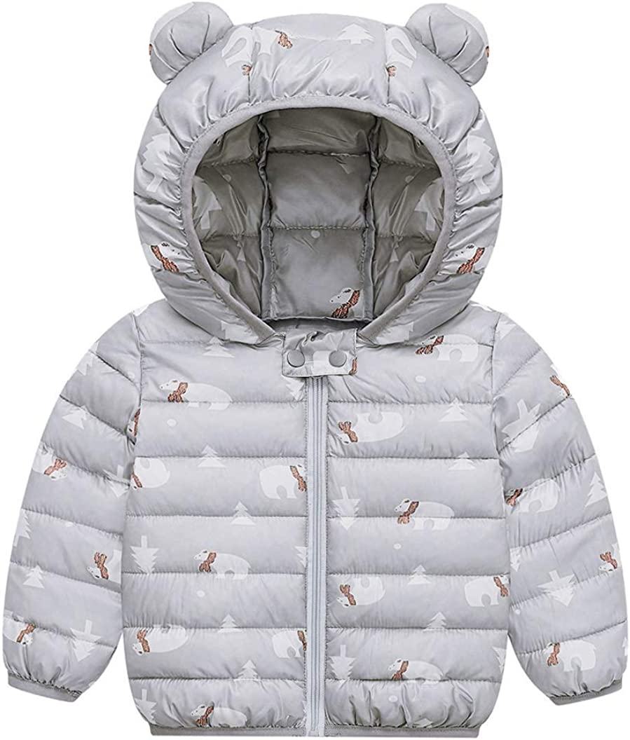 FEOYA Baby Cotton Puffer Coat Light Puffer Hooded Jacket Outwear Age 1-5T