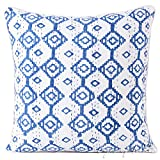 Eyes of India - 20'' Blue Kantha Colorful Throw Sofa Cushion Couch Pillow Cover Indian Bohemian BohoCover Only