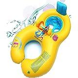 6-36 mesi float per neonati, gonfiabile cassaforte madre madre anello da bagno anello da nuoto con schienale, doppia persona piscina piscina per bambini per bambini