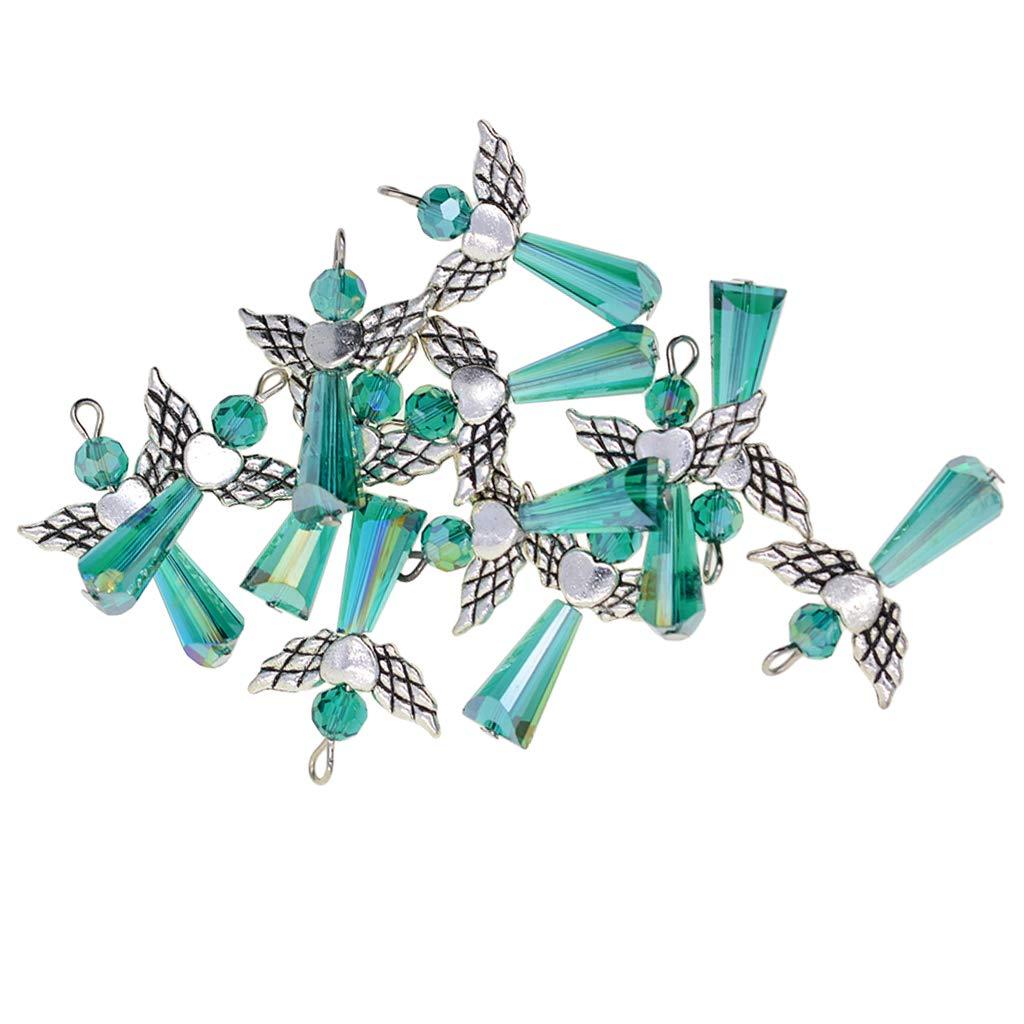 Fenteer 12pcs Pendentifs de Bijoux Femmes Forme Angel F/ée D/écorations Suspendue Collier Bracelet Boucles doreilles Bricolage 32 x 21 x 8mm Vert