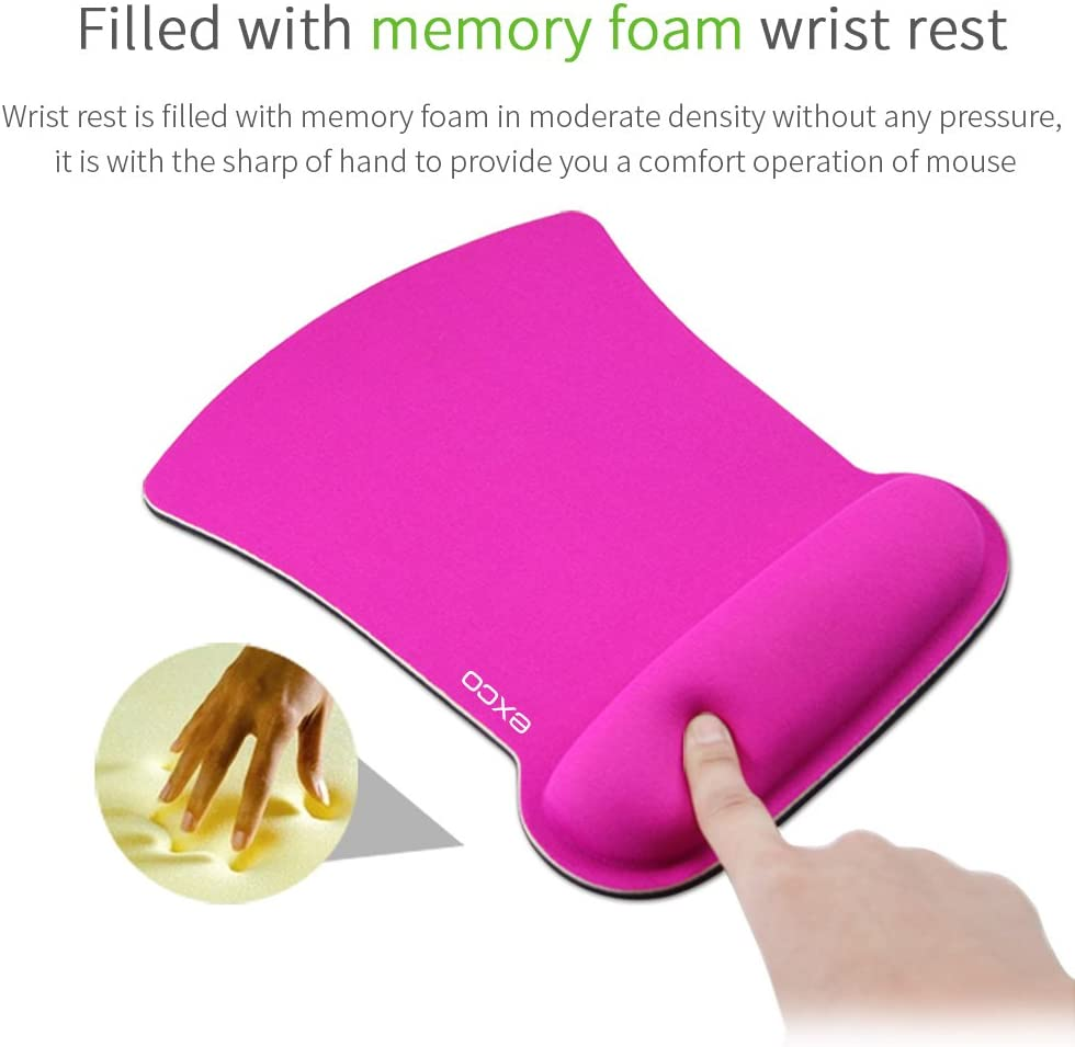 Non-Slip Rubber Base for Laptop Desktop Pink Mouse Pad Computer Mouse Pad with Wrist Support Rest EXCOVIP Ergonomic Mouse Pad with Wrist Rest