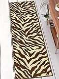 Well Woven 2501-2L Kings Court Zebra Modern Brown Animal Print 2'7'' x 12' Runner Indoor/Outdoor Area Rug