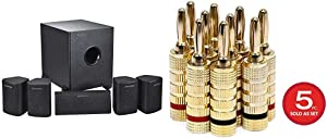 Monoprice 5.1 Channel Home Theater Satellite Speakers and Subwoofer - Black & 109436 Gold Plated Speaker Banana Plugs – 5 Pairs – Closed Screw Type