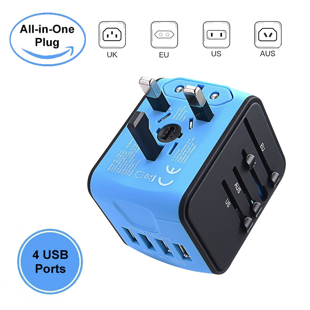 International Travel Power Adapter with 4 USB Ports & All in One Worldwide AC Wall Outlet Plugs for EU, UK, US, AUS, Italy, Asia, Etc (Blue)