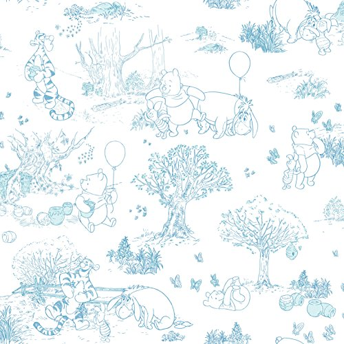 York Wallcoverings Disney Kids III Pooh & Friends Toile Removable Wallpaper, White/Off White
