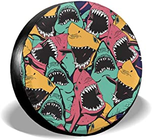 Je45if-Q Spare Tire Cover Crowdedcolorful Sharks Durable Universal Wheel Tire Cover for Trailers, RV, SUV, Trucks and Many Vehicle,