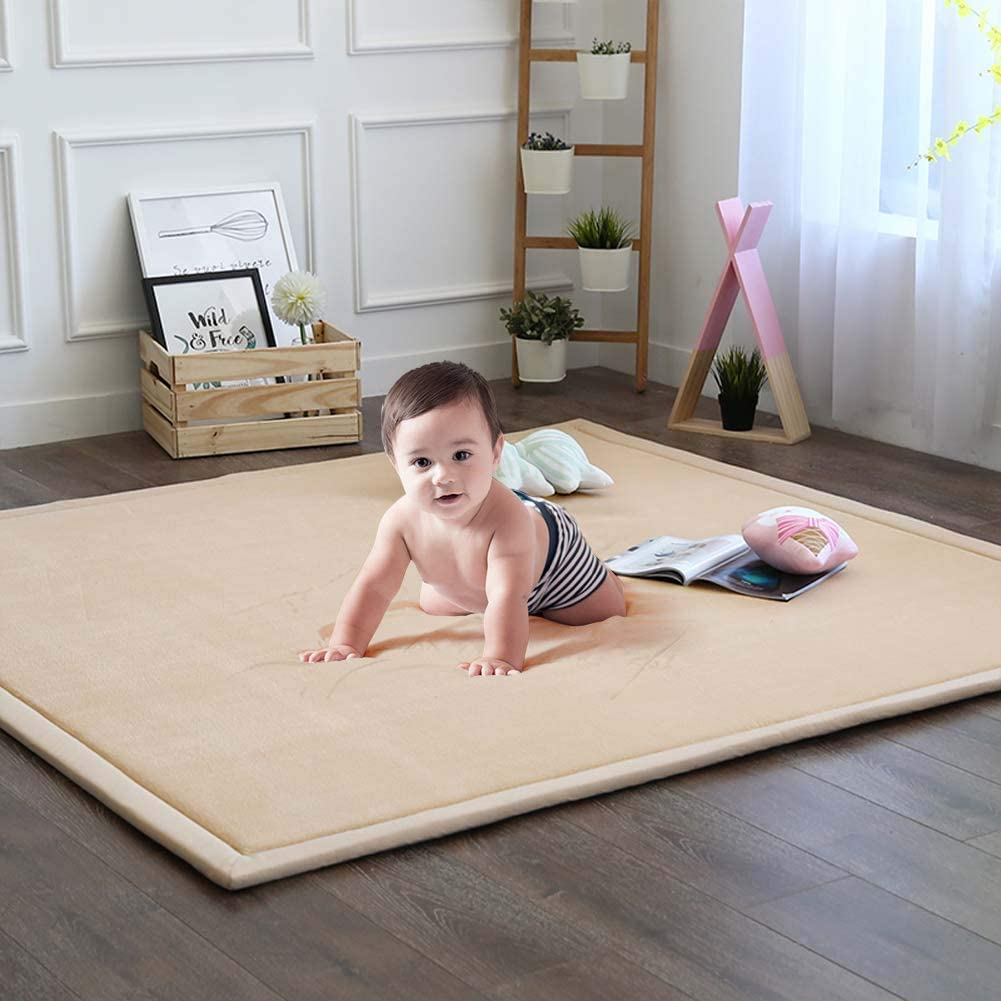 Soft Play Rugs for Boys Girls Infant Baby Toddler Nursery Baby Play Mat Nursery and Dormitor Foam Mat Tatami Mat Exercise Mat 59 by 78 Inch Playroom Thick Grey Rug for Living Room Classroom
