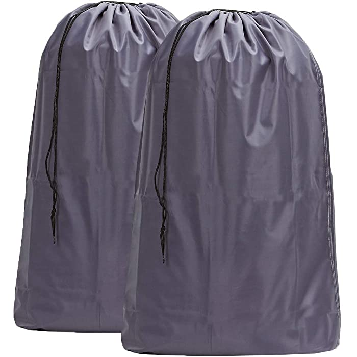 HOMEST 2 Pack Nylon Laundry Bag, 28 x 40 Inches Travel Drawstring Bag, Rip-Stop Large Hamper Liner, Machine Washable, Grey