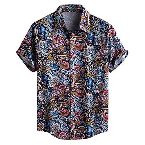 Beautyfine Mens Pocket Short Sleeve Shirts Multi Color Lump Chest Round Hem Loose T-Shirts