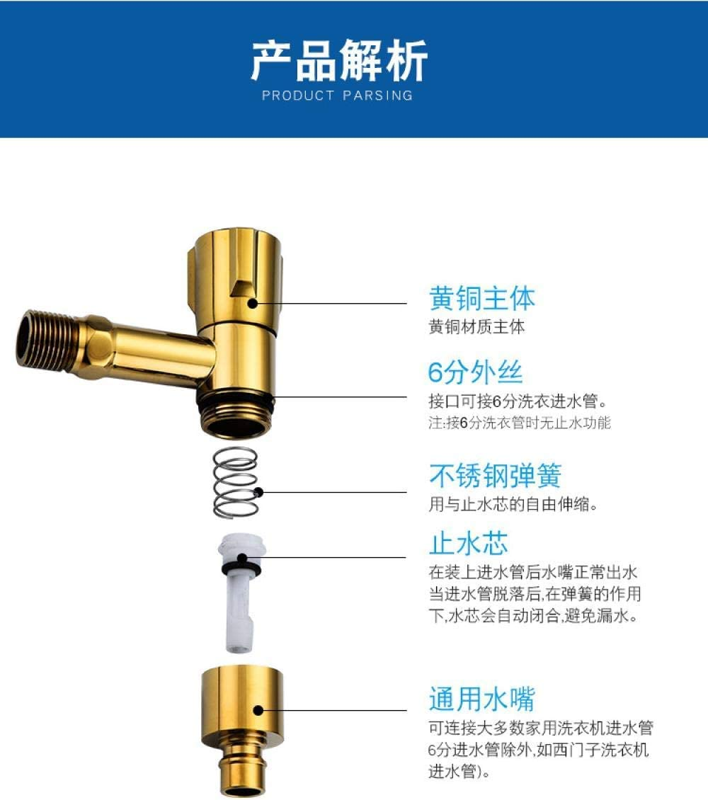 ShiSyan Copper Washing Machine Water Faucet Three Round Faucet Integrated red Flush Explosion-Proof Anti-Fall Safety Water Stop Valve