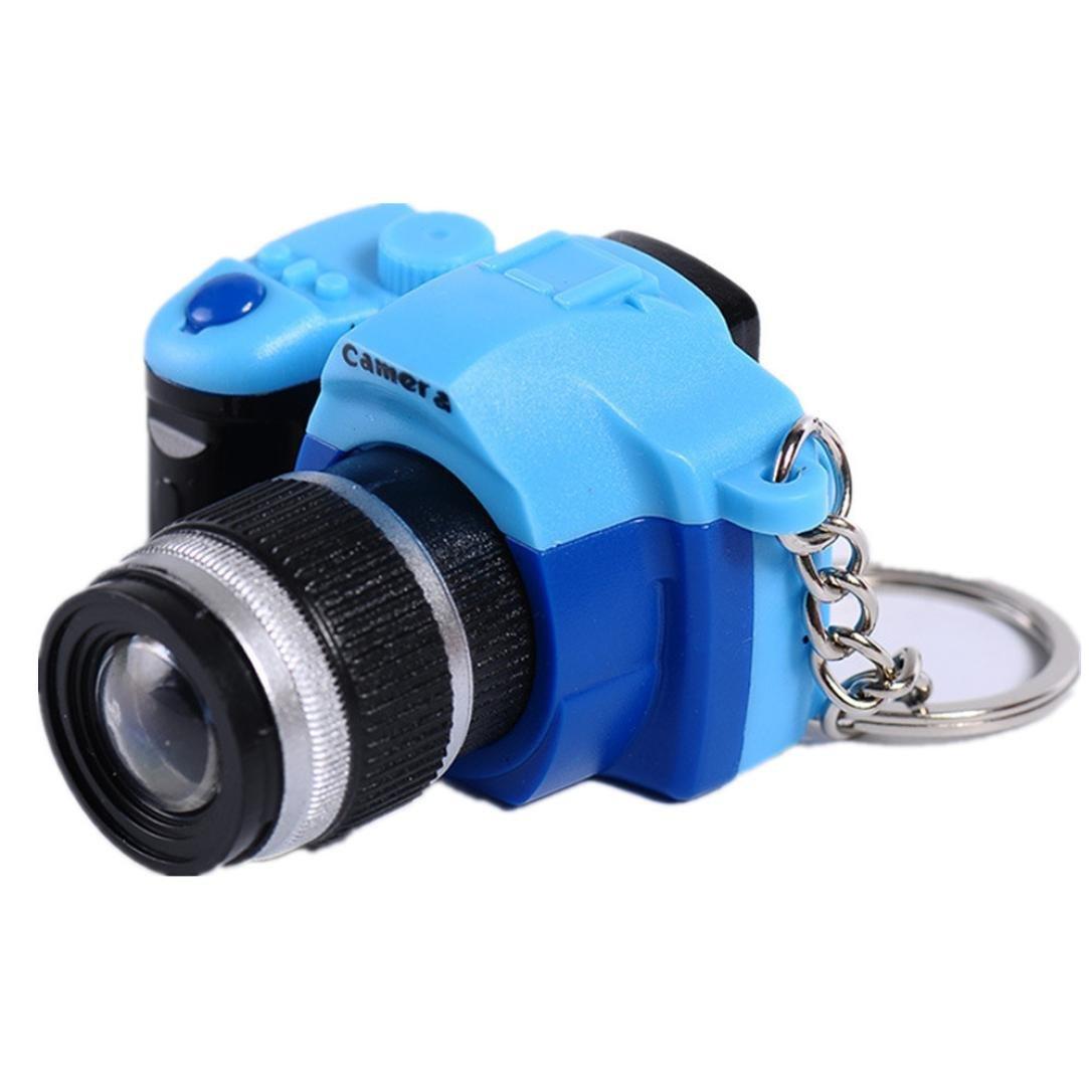Inverlee Multi-Function Lovely Mini LED Camera Key Chain Pendants Rings Chain Cartoon Women Car Bag Key Ring (Blue)