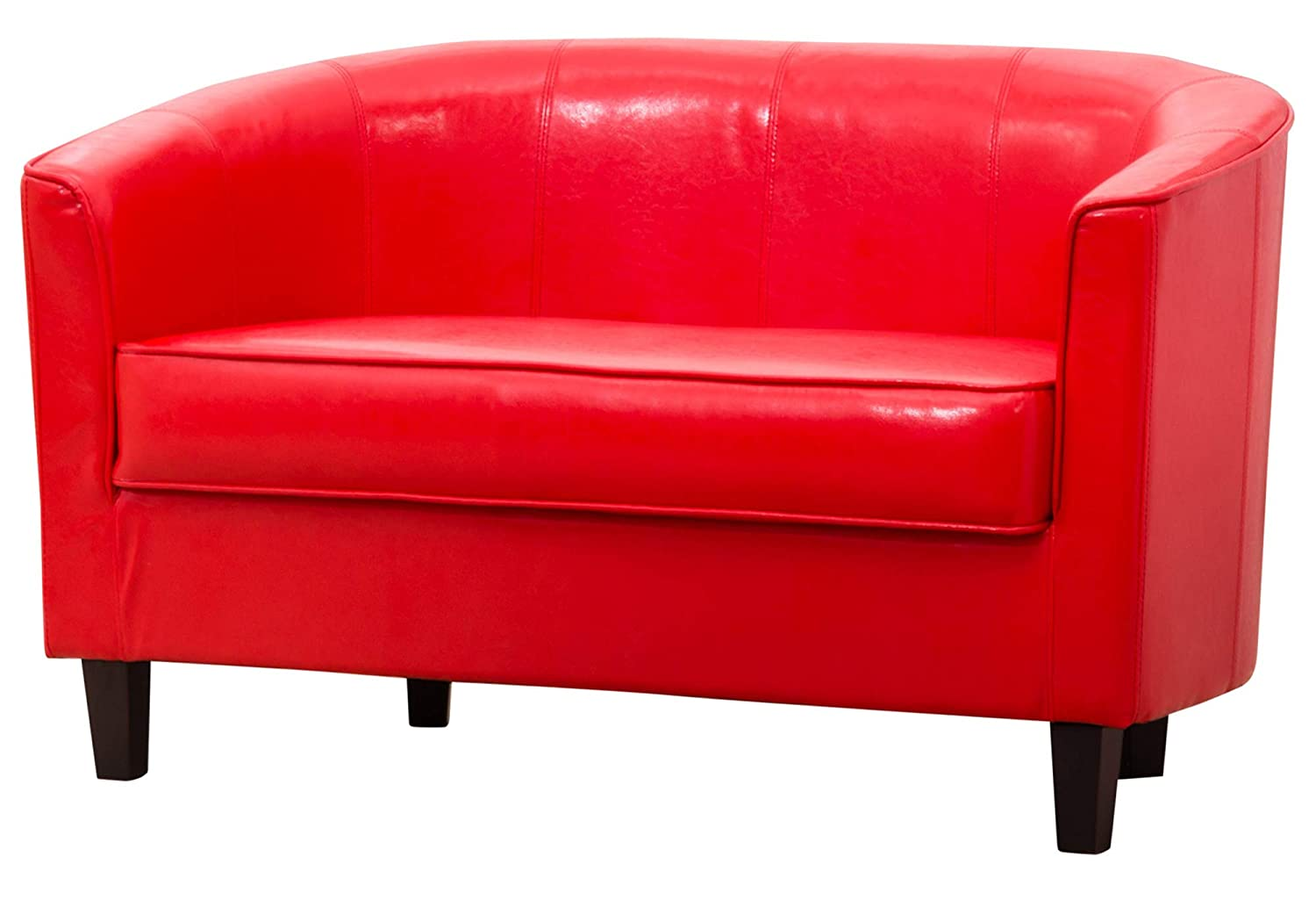 Sofa Collection Villemont Bonded Leather 2 Tub Chair/Sofa Seating (Red), 66x118x71 cm 5060363584796