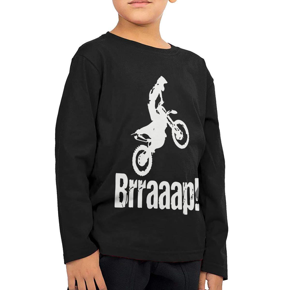CERTONGCXTS Little Girls Brraaap Dirt Bike Motocross ComfortSoft Long Sleeve Shirt