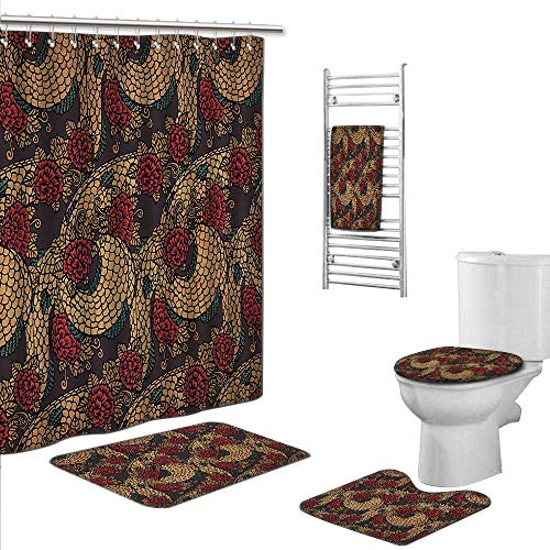 Bath SetsIncludes (Toilet mat Three-piece suit + 1 shower curtain + 1 bath towel) size:S-Asian Traditional Ancient Design Roses and Dragon Eastern Chinese Pattern Red Sand Brown Jade Green.