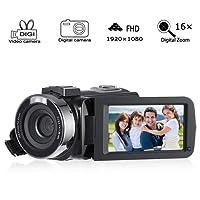 Cozime Videocamera Handycam Full HD 1080P IPS Schermo Camcorder 24 Megapixel Digitalle Zoom 16X Fotocamera, Supporto Lampada a Led Per La Compensazione Della Luce