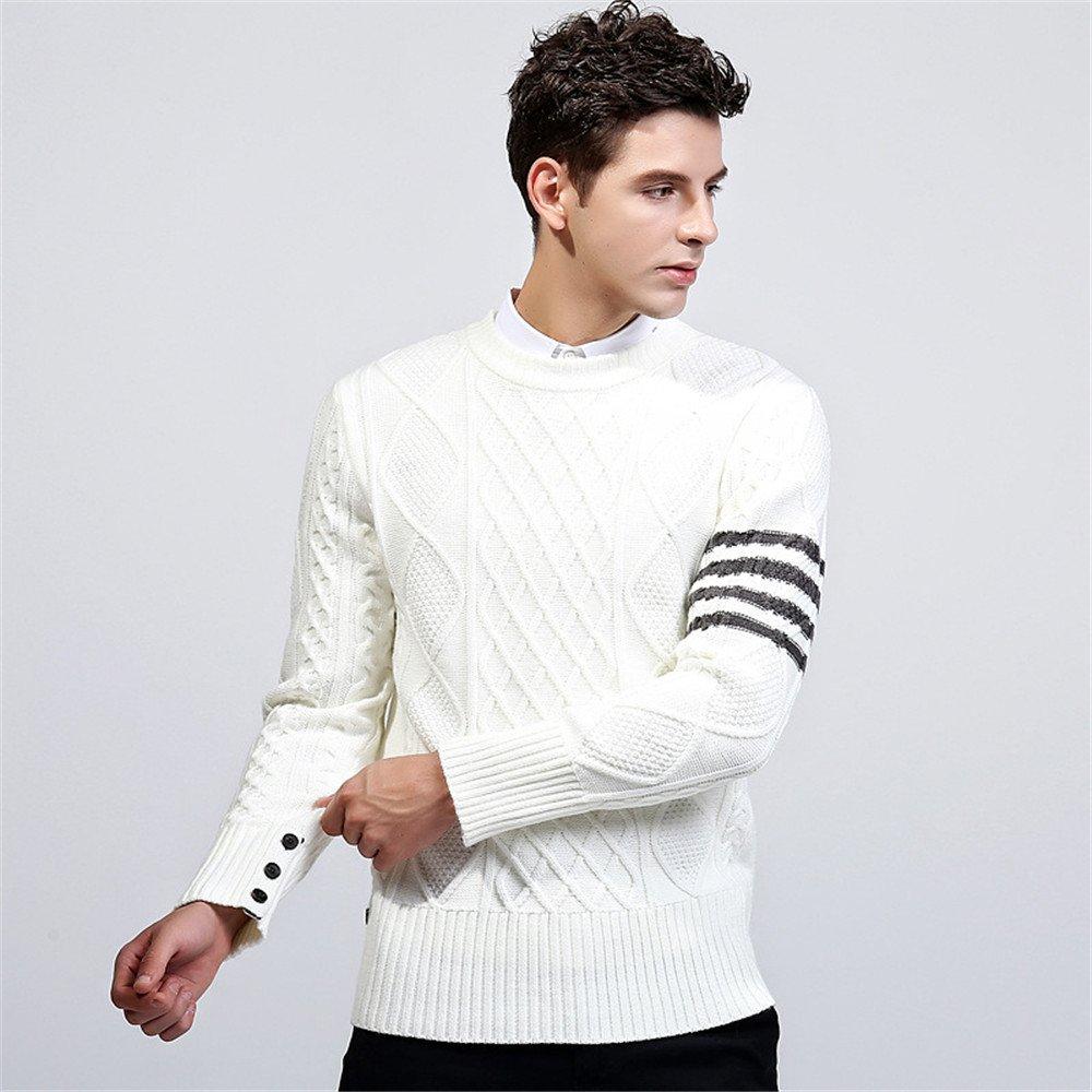 Jdfosvm männer sind männer Pullover Pullover ärmel Kopf Young British Style Pullover,weiße,XXL