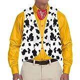 Hestenve Men's Cow Print Adult Festival Vintage Hippie Costume Vest