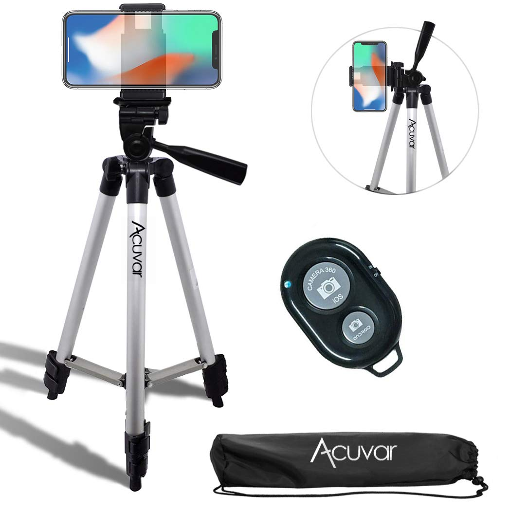 Acuvar 50'' Inch Aluminum Camera Tripod with Universal Smartphone Mount and Wireless Remote Control Camera Shutter for all Smartphones by Acuvar
