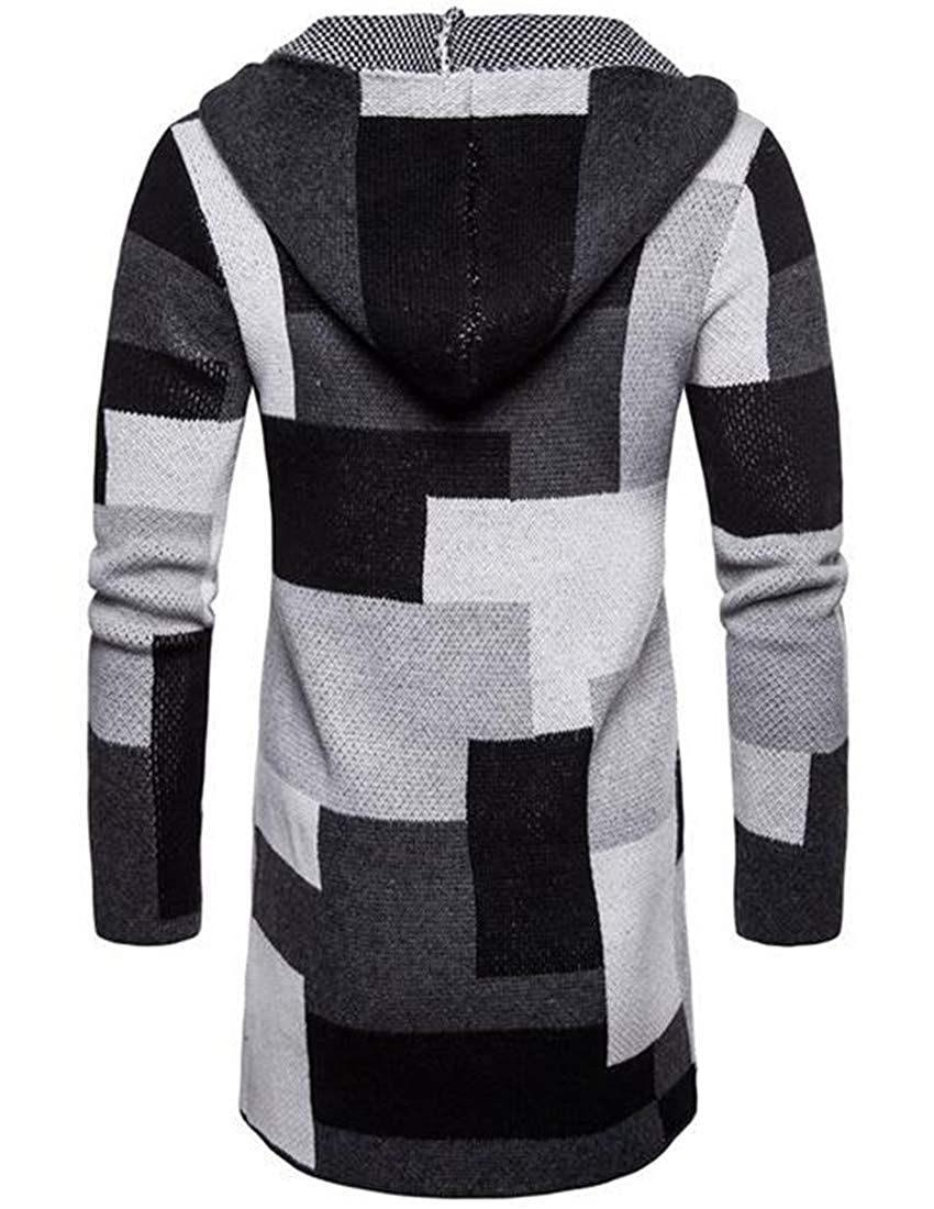 KLJR Men Color Blocks Hooded Long Sleeve Plaid Outwear Knitted Cardigan Sweater