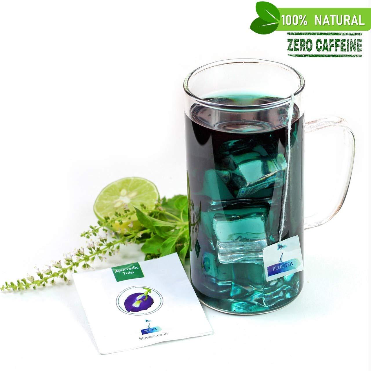 Blue Tea Ayurvedic Tulsi | Caffeine Free Herbal Tea | Butterfly Pea Flower  & Holy Basil (Tulsi) Herbal Tea , 28